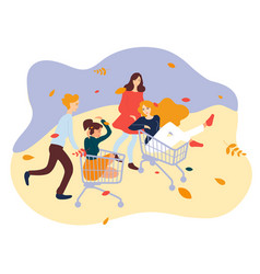 Young people racing with shopping cart friends vector