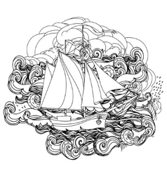black and white ship on the background of clouds vector image vector image