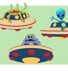 collection of spaceship and alien vector image