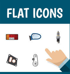 Flat icon auto set of spare parts auto component vector