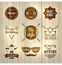 Hipster Labels Wooden vector image vector image
