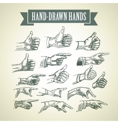 Set of vintage hand-painted hands vector