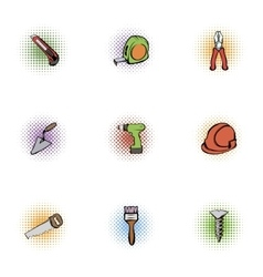 Tools icons set pop-art style vector image vector image