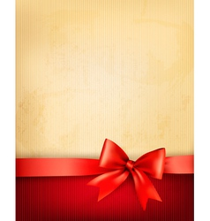 Vintage background with red gift bow and ribbon on vector image