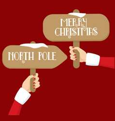 woman santa elegant hands holding sign posts vector image vector image