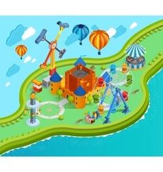 Amusement park isometric cartoon composition vector