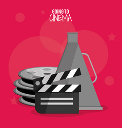cinema film clapper reel symbol vector image vector image