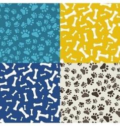 Dog Paw and bone anilams pattern vector image
