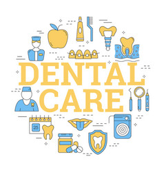 round linear concept of dental care vector image vector image