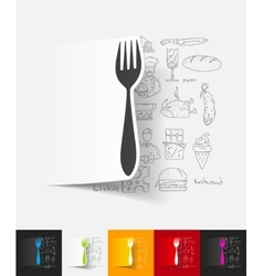 fork paper sticker with hand drawn elements vector image