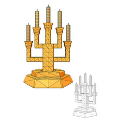 menorah seven branched candlestick vector image vector image