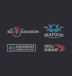set of retro vintage jellyfish and seafood shrimp vector image vector image