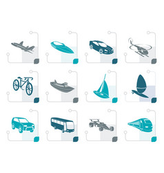 stylized different kind of transportation vector image