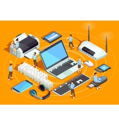 Wireless technology isometric composition poster vector