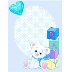 baby blue arrival card vector image vector image