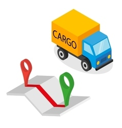 Delivery cargo and map with pins vector image