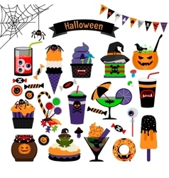 Halloween witchcraft sweets flat icons vector image vector image