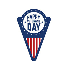 happy veterans day emblem template isolated on vector image vector image