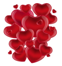 Many red hearts on a white background vector image vector image