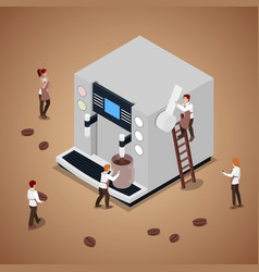 people making coffee with espresso machine vector image