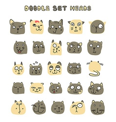 Set 25 doodle cats with different emotions vector image vector image