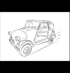 sketch of a retro car on a white background vector image vector image
