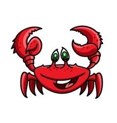 Smiling cartoon ocean red crab character vector image vector image