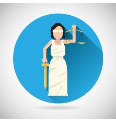 Themis Femida character with scales and sword icon vector image vector image