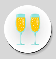 two glasses of champagne sticker icon flat style vector image vector image