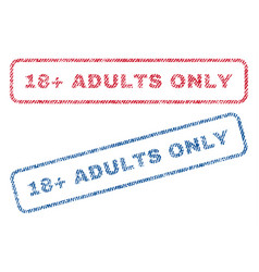 18 plus adults only textile stamps vector