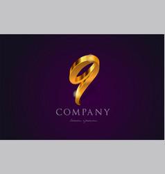 9 nine gold golden number numeral digit logo icon vector image