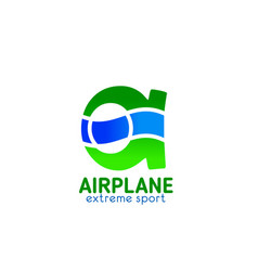 a letter icon for airplane extreme sports vector image