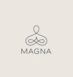 abstract yoga human linear logo thread person vector image