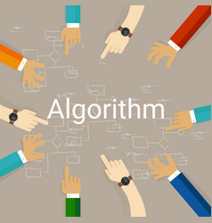 Algorithm problem solving flow chart hands working vector