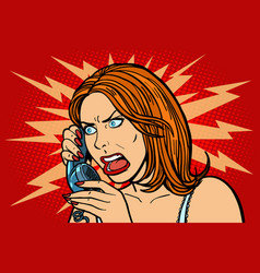 Angry woman talking on the phone emotions vector