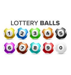 Balls with numbers for lottery game set vector
