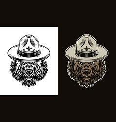 bear head in scout hat two styles objects vector image