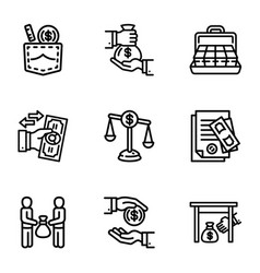 Bribery business money icon set outline style vector