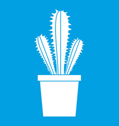 Cactus in flower pot icon white vector