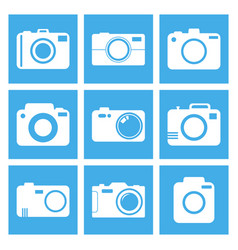 camera icon set on blue background in flat style vector image