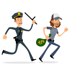cartoon flat policeman and thief characters vector image