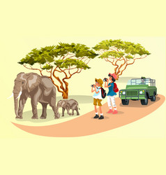 cartoon tourists taking pictures family of vector image