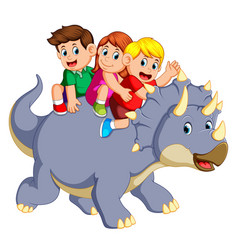 Children are sitting on the triceratops vector