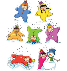Children playing in the snow vector