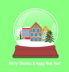 Christmas snow globe with amsterdam houses vector