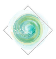 circle green mint mixed yellow watercolor over vector image