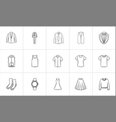 Clothing and accessory sketch icon set vector