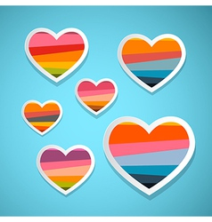 Colorful Abstract Hearts Set on Blue Background vector image