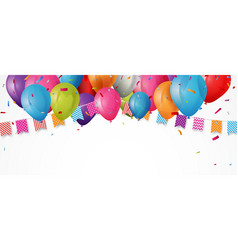colorful birthday balloon with bunting flags vector image