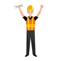 construction worker with wrench avatar vector image